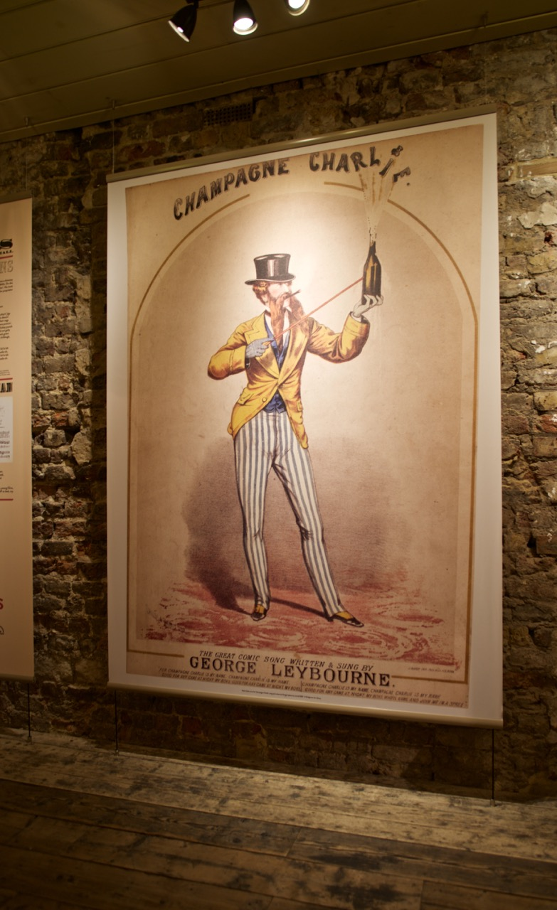 'Champagne Charlie' banner in the John Wilton History Room, Wilton's Music Hall © Quentin Colville